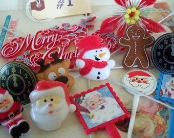 Vintage & Vintage Style Cupcake Toppers and Cupcake Picks / DIY Gingerbread House / Grab Bag / An Assortment of 12 Miscellaneous Items