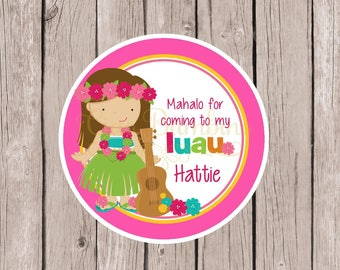 PRINTABLE Luau Birthday Party Favor Tags / Print Your Own Personalized Luau Favor Stickers or Tags / Choose Hair & Skin Color / You Print