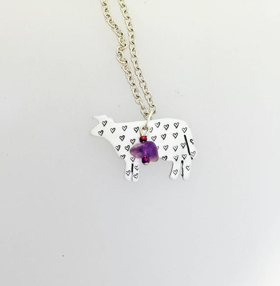 Amethyst Compassionate Cow Necklace-Gemstone Cow necklace-Vegan Necklace-Vegan Gift-Vegan Jewelry-Cow Lover-Birthday-Veganniversary-Cows-