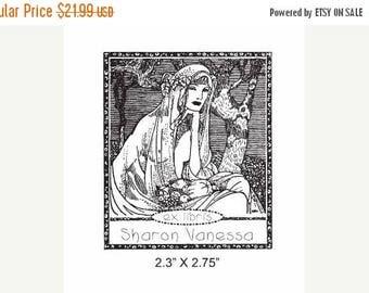 Super Summer Sale Bountiful Harvest Woman with Fruit Custom Ex Libris Rubber Stamp E16