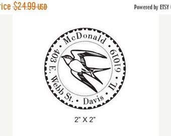 Super Summer Sale Swallow Custom Return Address Rubber Stamp AD125