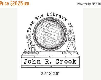 Xmas in July Personalized Globe Ex Libris Library Stamp Rubber Stamp D01