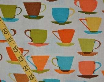 Novelty print fabric Mod coffee cup fabric Next day Art Novelty cups Metro Cafe Louise Cunningham