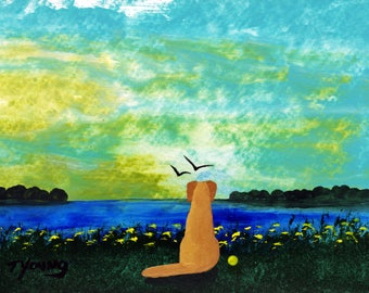Yellow Lab Dog art PRINT of Todd Young painting Beach Dawn