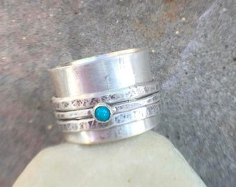 25% Off - Sterling Silver Turquoise Spinner Ring Size 7