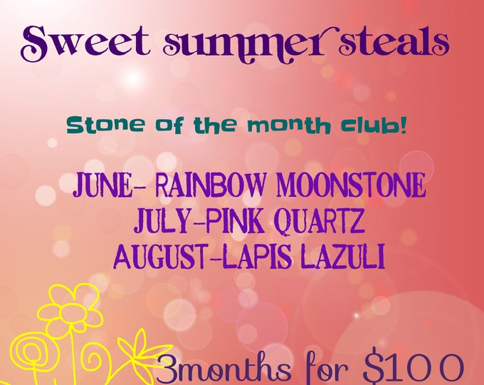 Stone of the Month Club June, July, August Littles Your Choice Necklace or Earrings