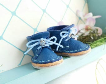 Lace Up Shoes Mini Blue Leather With Light Blue Laces Rhinestone Azone Pure Neemo M Size Neo Blythe Doll Boots