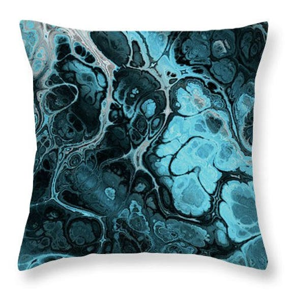 Handmade Blue Lightening Storm Throw Decorative Designer Artist Created Pillow 18 inch Square with Zipper and Insert