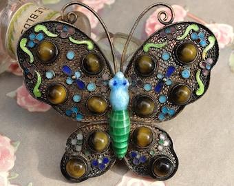 Vintage Enamel Filigree Butterfly Pin Silver