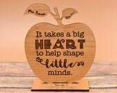 Custom Teacher Appreciation Gift Wood Engraved Apple Desk Display Award | Thank You | Big Heart to help Shape Little Minds