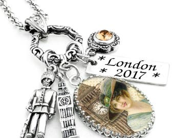 London Jewelry, England Necklace, London Pendant, Big Ben Necklace, Palace Guard Charm
