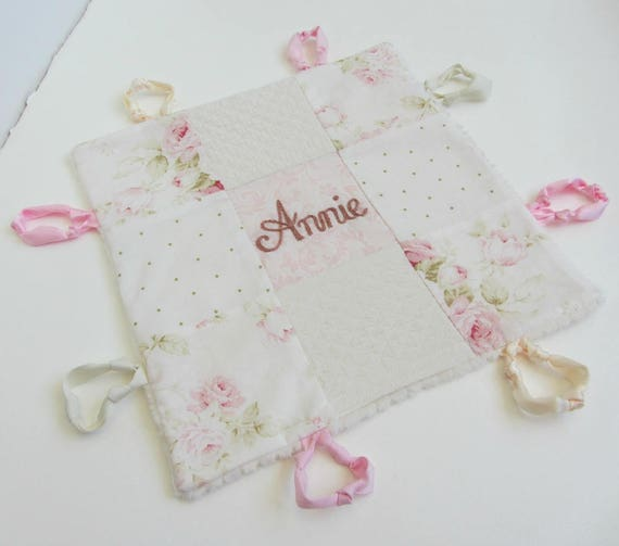 Baby Lovey Girl Blanket with Custom Hand Embroidery Name Or Initial ~Choice of Fabric Backing ~Floral Nursery ~Shabby Chic~Blush White Cream