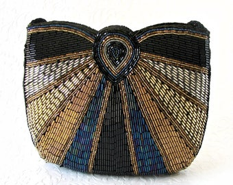 Vintage Multi Colored Silver Gold Bronze Black Carnival Blue Glass Beaded Purse Formal Handbag Evening Bag Clutch Handbag Across Body Strap