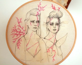 Pink Thorns, an embroidered drawing