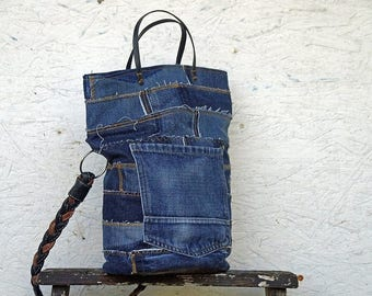 Recycled Jeans Bag - Jeans Shoulder Bag - Jeans Handbag - Blue Jeans Purse - Long Leather Strap - 2 Short Leather Straps - 2 Jeans Pockets