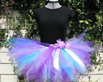 "SUMMER SALE 20% OFF Wildflowers - Custom Sewn Pre-teen Teen Adult Tutu - Purples Blues - up to 15"" long"