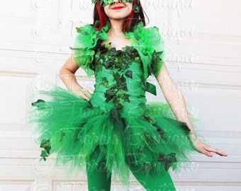 SUMMER SALE 20% OFF Girls Comic Book Villain Halloween Costume, Green Ivy, Includes Ivy Embellished Corset, Shrug, Mask, Tutu with Bustle, a