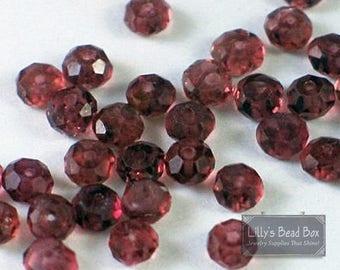 Summer SALEabration - Natural Garnet Beads, Tiny Garnet Rondelle, 20 Count Garnet Beads for Making Jewelry, 3-3.5mm Gemstones (L-Ga6)