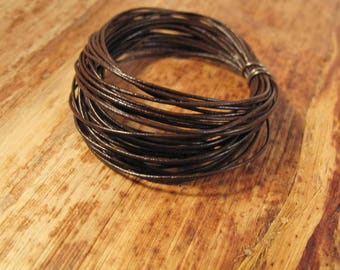 13 Feet of Natural Brown Leather Cord, 0.5mm Round Cord For Jewelry, Craft Supplies, Delicate Brown Leather, Natural Leather