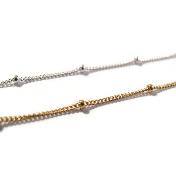 5 Feet of Satellite Chain, 14/20 Gold Filled or .925 Sterling Silver Beaded Chain, Jewelry Supplies, Everyday Necklace (11082f/s)