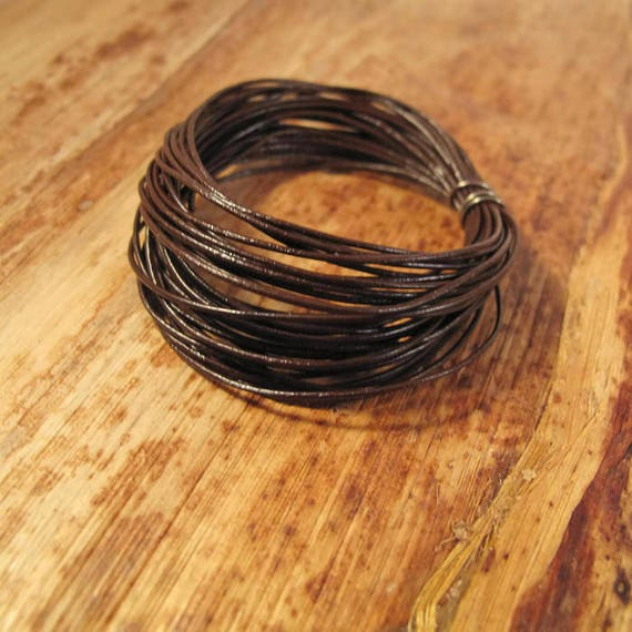 13 Feet of Natural Brown Leather Cord, 0.5mm Round Cord For Jewelry, Craft Supplies, Delicate Brown Leather, Natural Leather (F-16a)