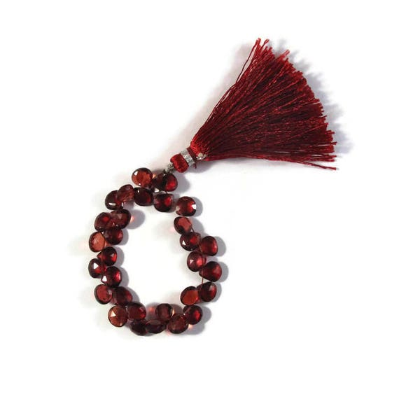 Natural Garnet Teardrop Beads, 4 Inch Strand of 32 Faceted Red Gemstones for Making Jewelry, Heart Briolettes, 5x5mm x 6x6mm (B-Ga3b)