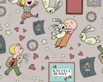 Knuffle Bunny fabric from  Cloud Nine, All Things Fun gray, Organic Cotton, yard