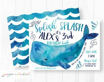 Whale Birthday Invitation - Ocean Fish Invite - Summer Birthday - Pool Party Invite - Nautical Birthday -  Sea life Invite Water Park Party