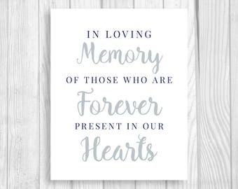 In Loving Memory 5x7, 8x10 Navy Blue and Silver/Gray Printable Wedding Sign - Those Who Are Forever Present in Our Hearts - Instant Download