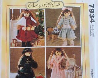 McCalls Crafts Pattern 7934, Betsy McCall Pattern, 18 Inch Doll Clothes Pattern, Victorian Doll Clothes Pattern