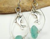 Sea Glass Earrings Sea Glass Jewelry Teal Sea Glass Sterling Silver Earrings  E-228