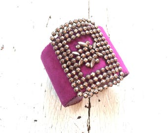 Purple Adjustable Cuff with Metal Filigree