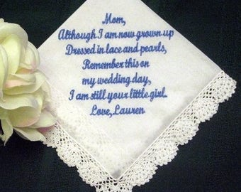 ON SALE Wedding Hanky for Mother of the Bride with Gift Box 50S includes shipping in the Us
