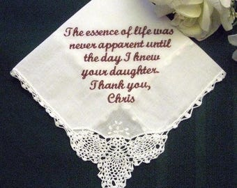 ON SALE Groom to Mother of the Bride 1SL Free gift box Personalized Wedding Handkerchief