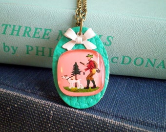 Vintage Intaglio Necklace - Huntsman & Dog Kitchy Woodland Charm Necklace - Retro Pink + Teal Blue Hunting Scene Bow Jewelry Gift for Her