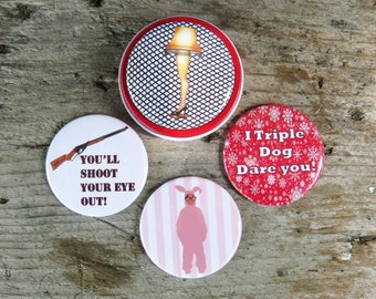 "A Christmas Story Magnet Set in Gift Tin 4- 2.25"" magnets in red screw top tin. Ralphie in Bunny Suit, Leg Lamp"