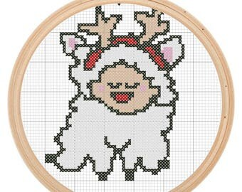 Cross Stitch Pattern - Sheepy Reindeer Merry Christmas This is a great starter pattern
