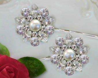 Ivory Pearl, Wedding Hair Pin, Wedding Hair Clips, Bridal Bobby Pins, Hair Flowers, crystal wedding clip, Bridesmaids gift, bridal hair pins