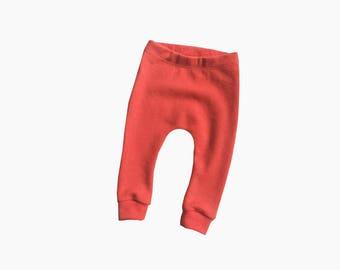 wool longies, baby woollen leggings, thermal pants, heavyweight wool jersey tights (soft orange) - 6m