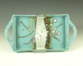 Rectangular Serving tray in Turquoise handmade stoneware pottery cheese and cracker tray