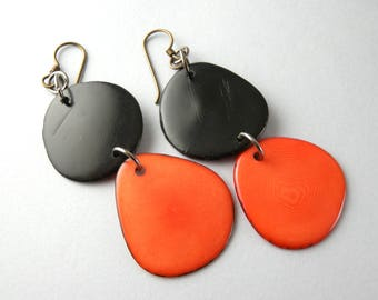 Black and Orange Tagua Nut Eco Friendly Earrings with Free USA Shipping SALE