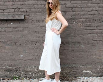 1980's Beige Wide Leg Floods Jumpsuit with Pockets in Medium or Large . Sleeveless Summer or Winter Romper Plus Size . Ivory Cream Beige
