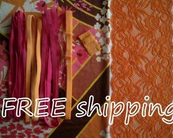 LINGERIE Kit Retro Graphic & Orange for 1 BRA + Panty FREE Shipping by Merckwaerdigh