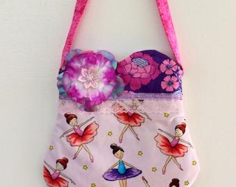 Ballerina purse, girls purse, toddler purse,