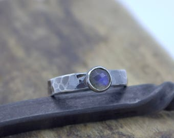 Labradorite Sterling Silver Stackable Ring - 6mm blue labradorite rustic ring