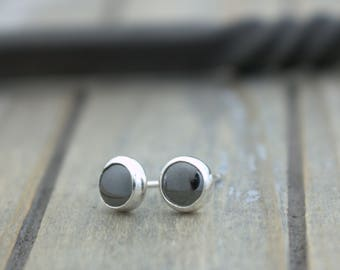 Hematite Sterling Silver Stud Post Earrings