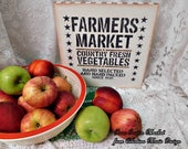 Farmers Market Wood Wall Sign, Hand Painted, Stenciled, Farmhouse Collectible Sign, Kitchen, Dining Decor, Country Cottage, ECS