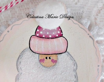 Shabby Pink Hat Santa, Hand Painted Snowflake Ornament, with Designer Trims, Hanging Acrylic Crystal, Christmas, Holiday, Tree Ornament, ECS