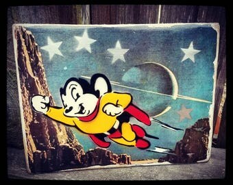 Mighty Mouse Mixed Media Graffiti Art Painting on Photo Transfer Original Art on Handmade Canvas Home Decor Pop Art Gallery Vintage Cartoon
