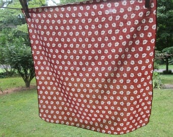 Six Vintage Thin Cotton Napkins - Rust and White Leaves - Everyday Country Dining